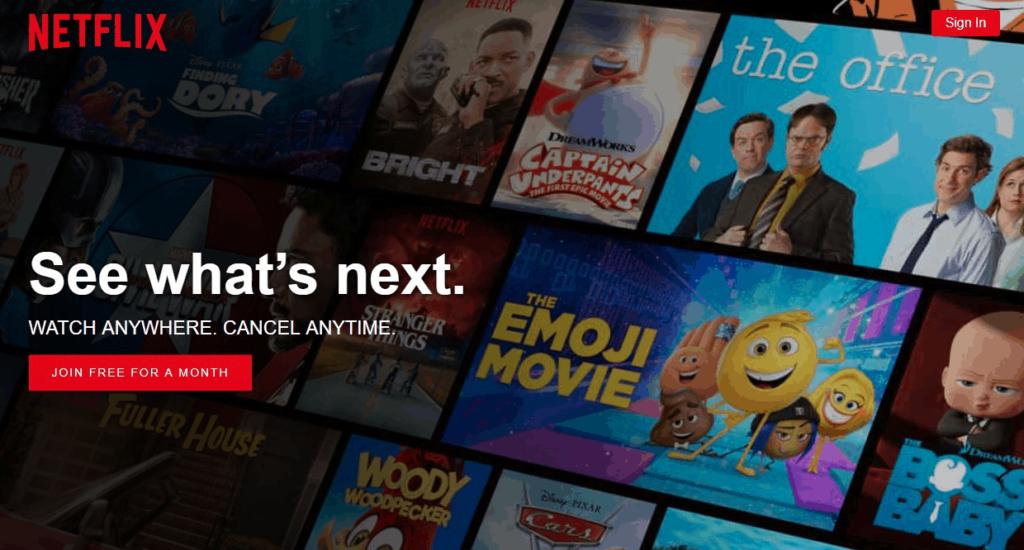 Netflix Homepage Example