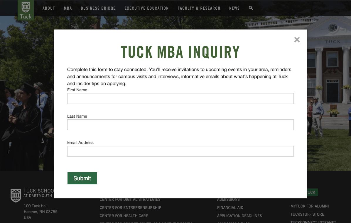 Dartmouth's Tuck School of Business's RFI form