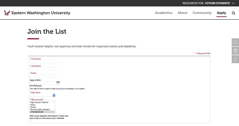 Eastern Washington University's RFI form