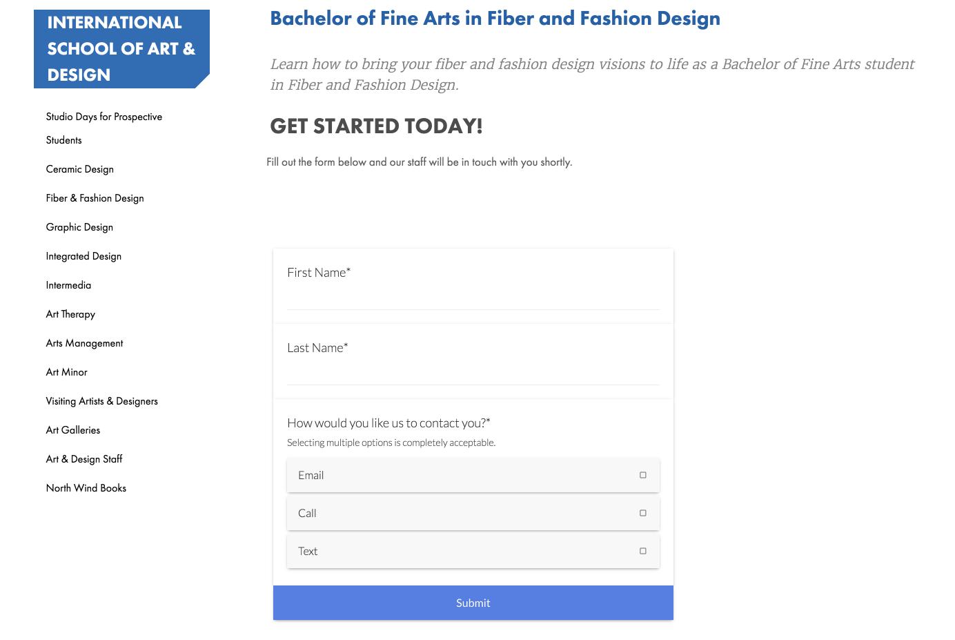 Finlandia University's RFI form