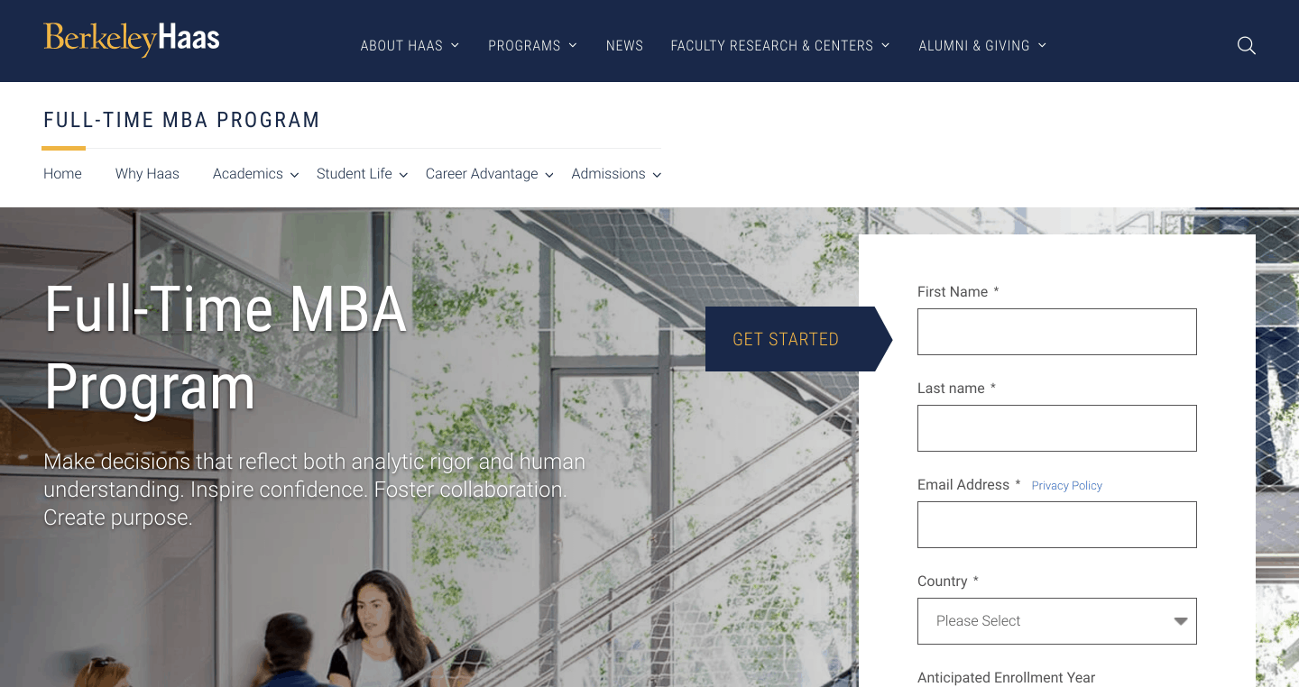 the UC Berkeley Haas School of Management's full-time MBA program landing page