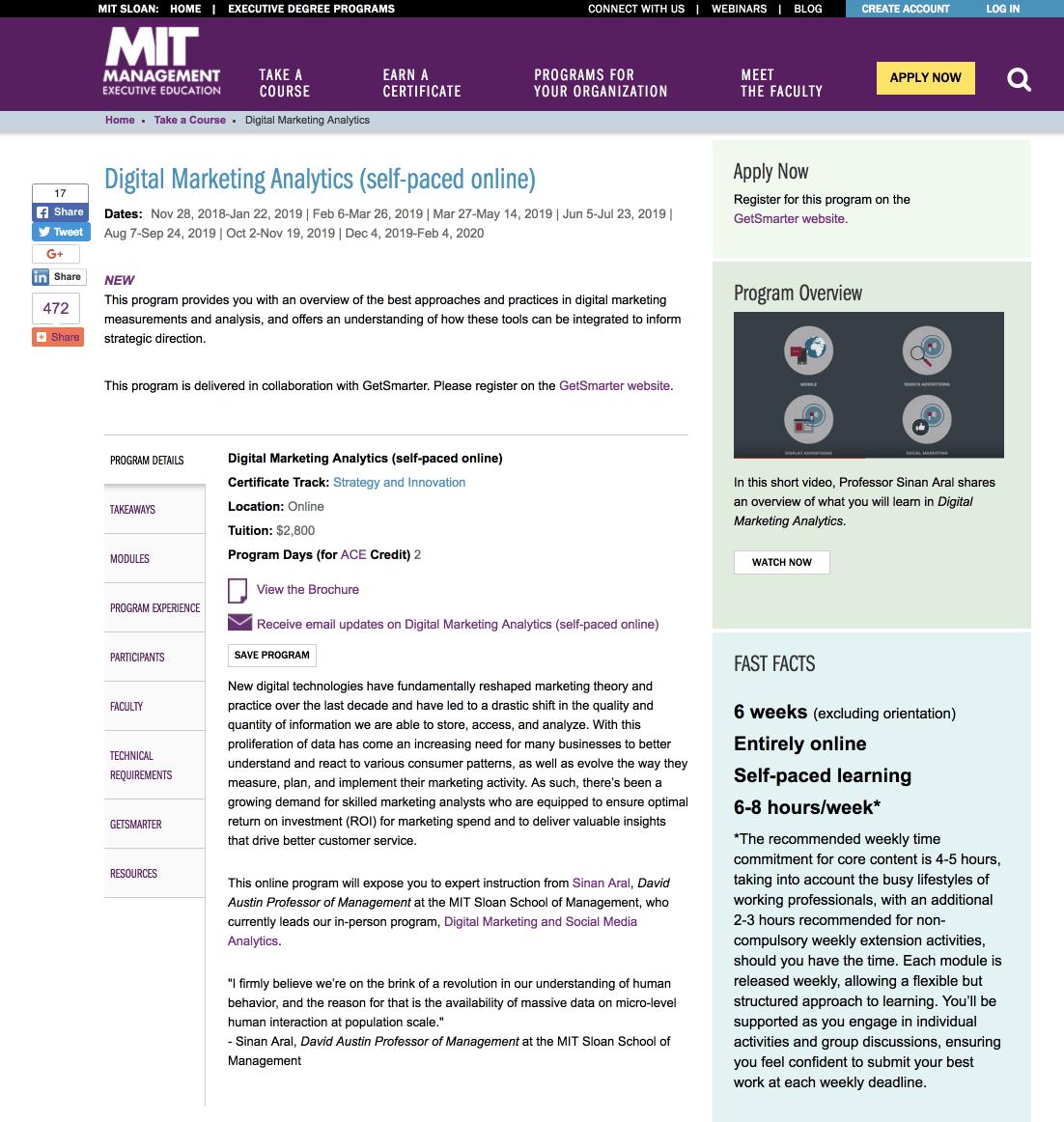 The MIT Digital Marketing Analytics course landing page