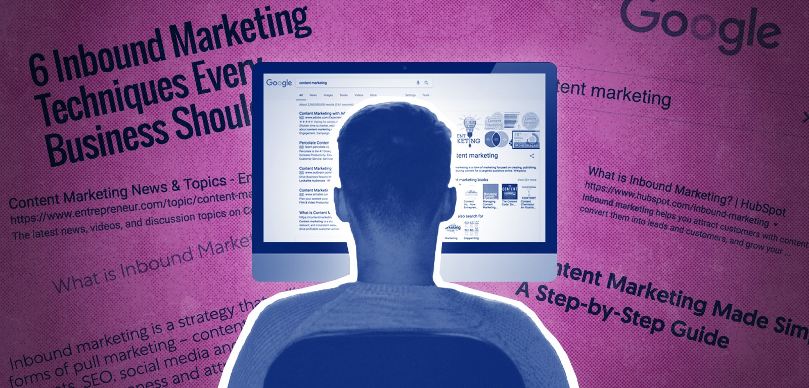 A graphic of the back of a man's head. He is looking at a computer screen. There is a purple background behind the computer with articles about marketing also in the background.